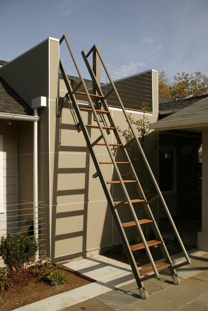 Rolling Scaffold Patio Contemporary with Balcony Border Plantings Handrail Library Ladder Loft Neutral Colors