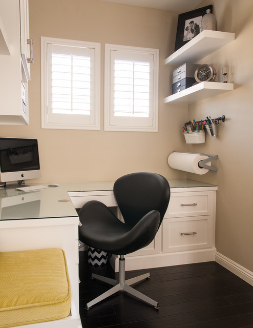 rolling shutters Home Office Transitional with beige plantation shutters beige wall black chair built-in desk