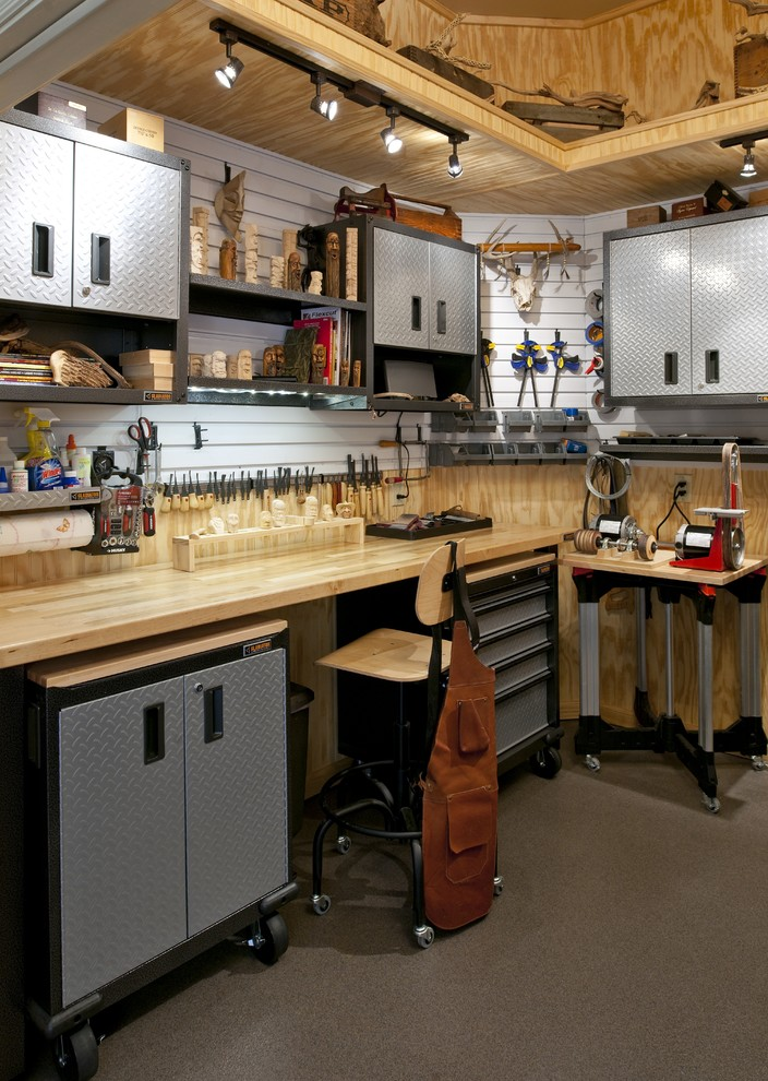 Rolling Workbench Garage and Shed Traditional with Gladiator Natural Slat Wall Storage Tools Workspace