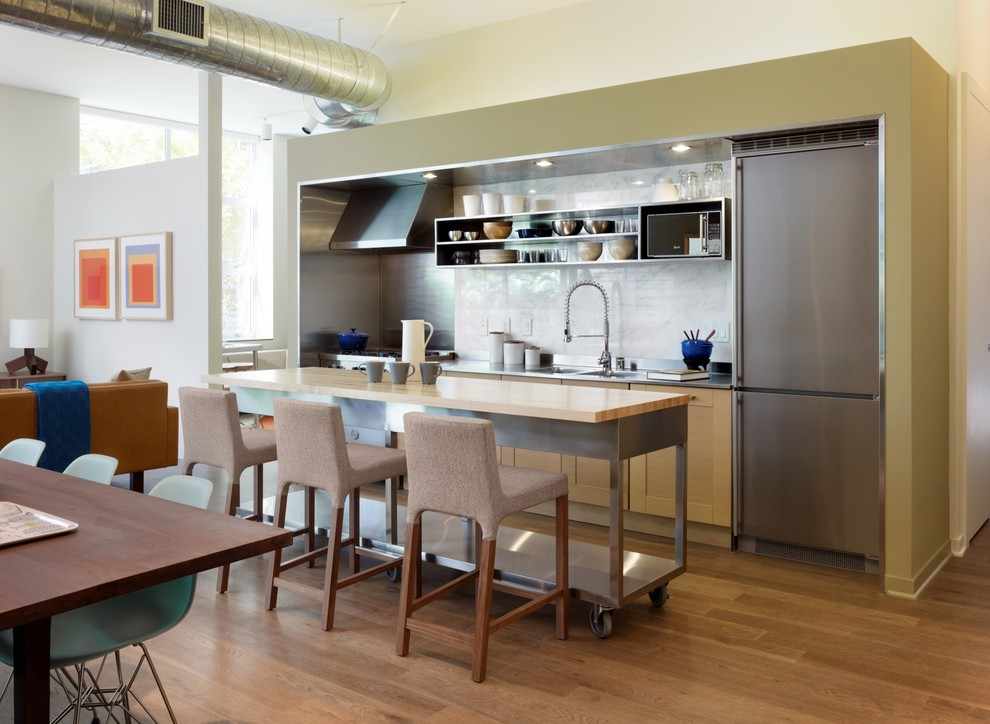 rolling workbench Kitchen Modern with cart island exposed duct marble backsplash metal
