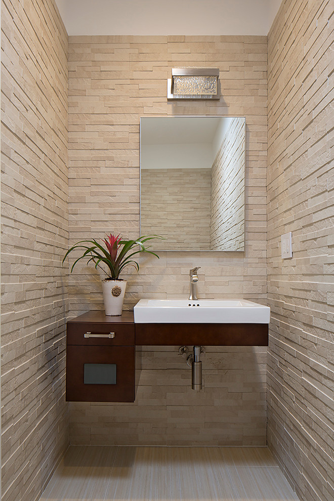 Ronbow Vanities Powder Room Contemporary with Floating Vanity Stone Tile Walls Textured Walls