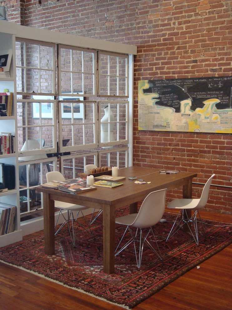 Room Divider Bookcase Dining Room Industrial with Blocky Brick Walls Castleberry Hill Eiffel Chair