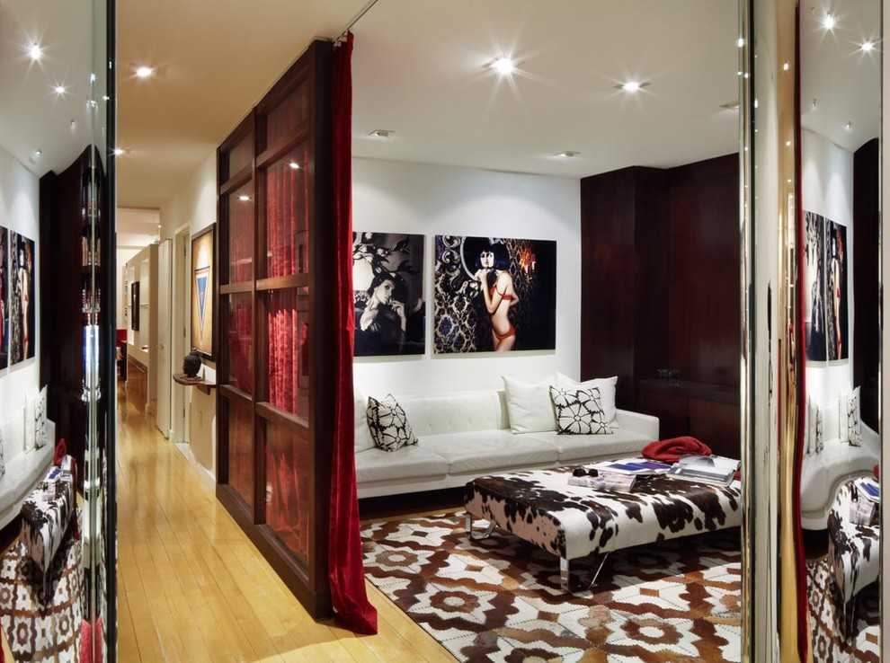 Room Divider Curtain Home Theater Contemporary with Artwork Caadre Mirror Cowhide Cowhide Ottoman Cowhide