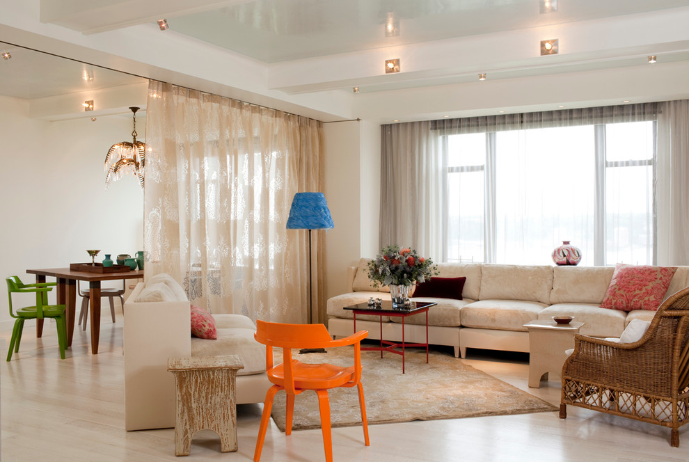 Room Divider Curtain Living Room Contemporary with Area Rug Armchair Beamed Ceiling Ceiling Lighting