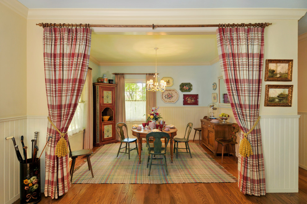 room divider curtains Dining Room Farmhouse with antique chairs beadboard wainscot canes corner hutch