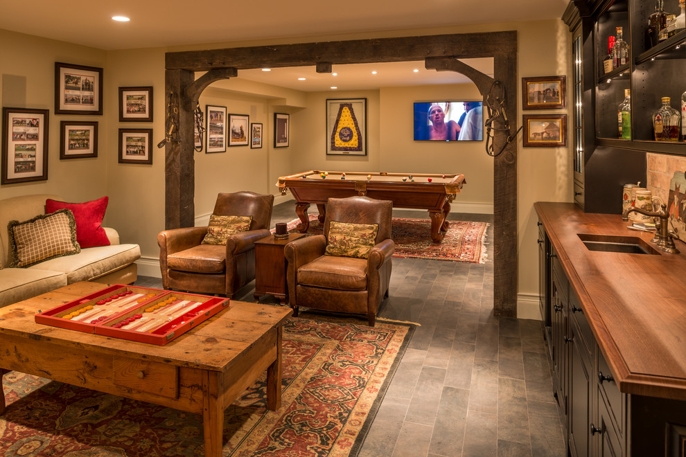 Room Separators Basement Traditional with Area Rugs Beige Sofa Built in Bar