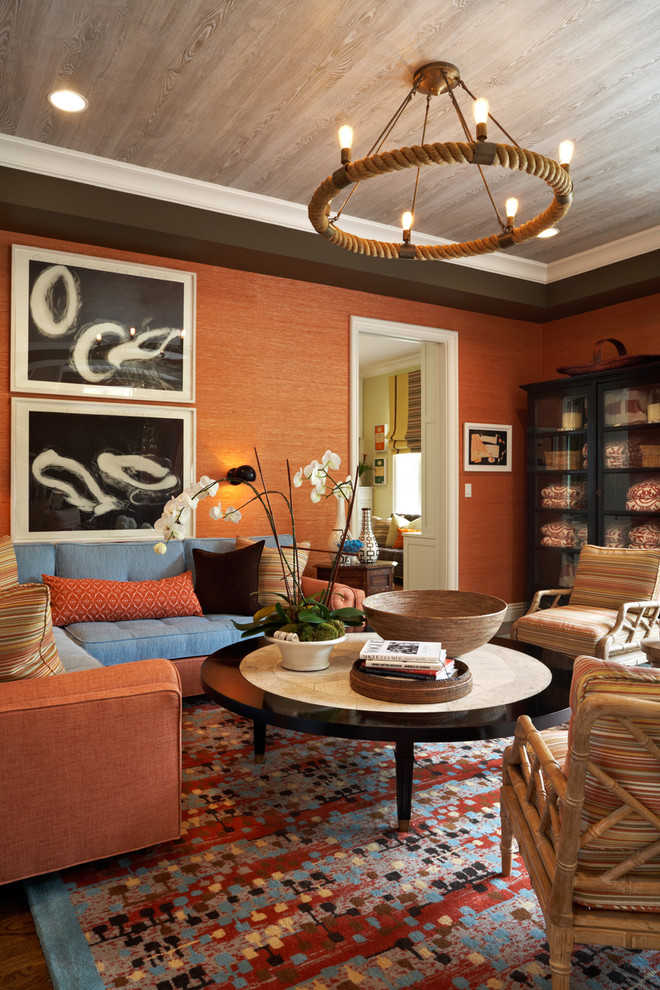 Rope Chandelier Family Room Eclectic with Bamboo Chair Blue Contemporary Art Crown Molding