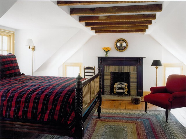 round braided rugs Bedroom Traditional with arm chair black painted mantle carved wood dark stained