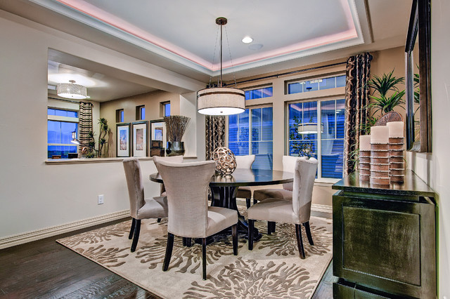 Round Braided Rugs Dining Room Eclectic with Colorado Collection Colorado Homes Dark Wood Floor Denver Dining