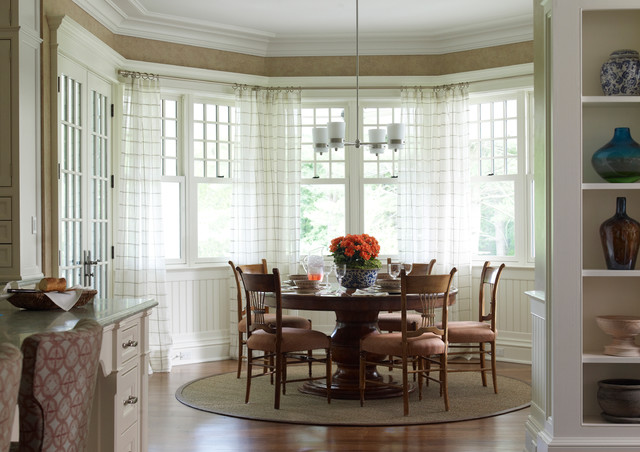Round Braided Rugs Dining Room Traditional with Bay Window Beadboard Breakfast Nook Crown Molding Dining Table
