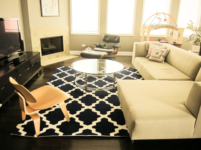 Round Braided Rugs Family Room Contemporary with Area Rug Corner Fireplace Corner Sofa Glass Coffee Table
