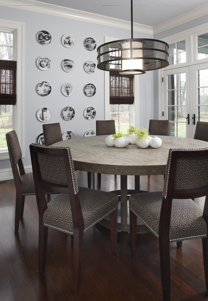 Round Extendable Dining Table Dining Room Contemporary with Centerpiece Crown Molding Dark Floor Decorative Wall