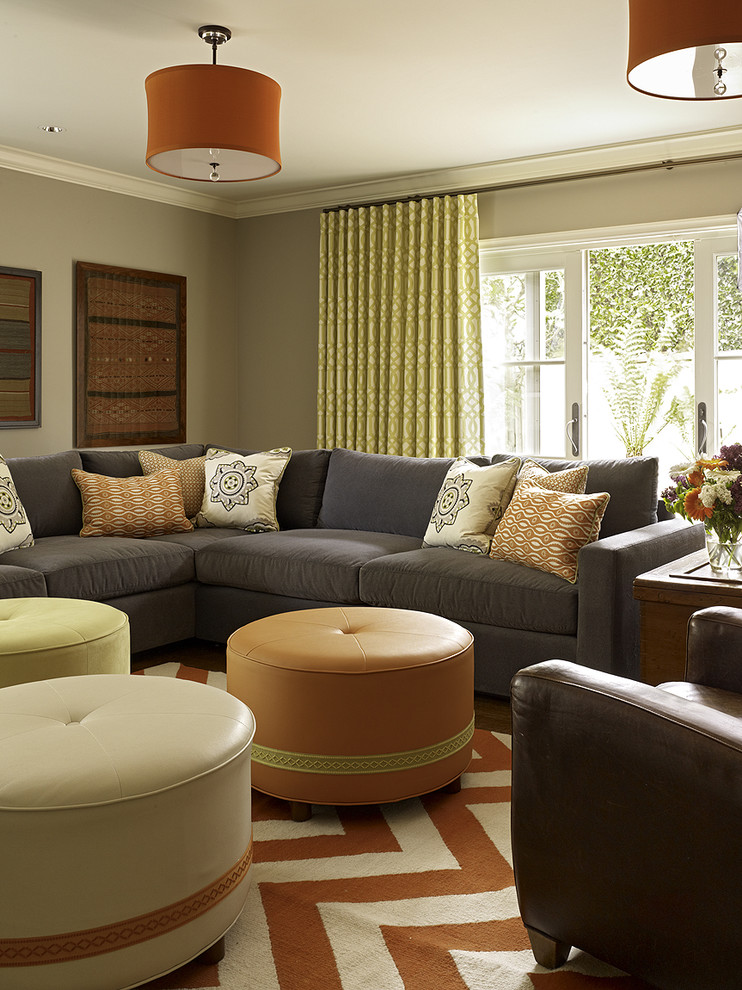 Round Leather Ottoman Family Room Transitional with Chevron Crown Molding Decorative Pillows Drum Pendant