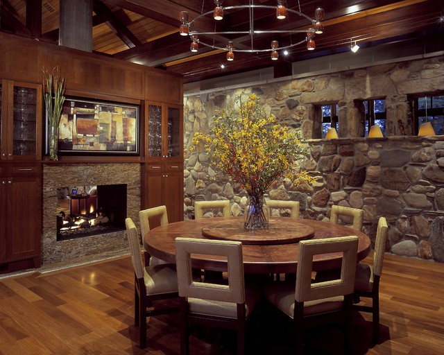 Round Nesting Tables Dining Room Rustic with Built in Storage Cabin Centerpiece Dark Floor Earth Tone