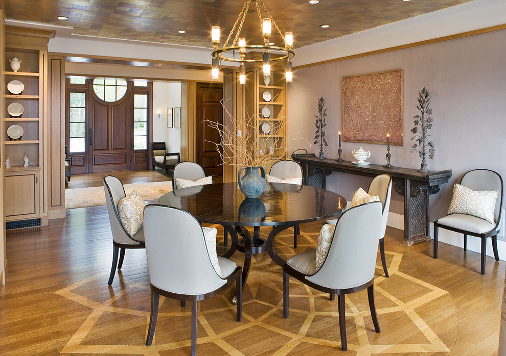 Round Pedestal Dining Table Room Contemporary With Built In Storage Console Crown Molding