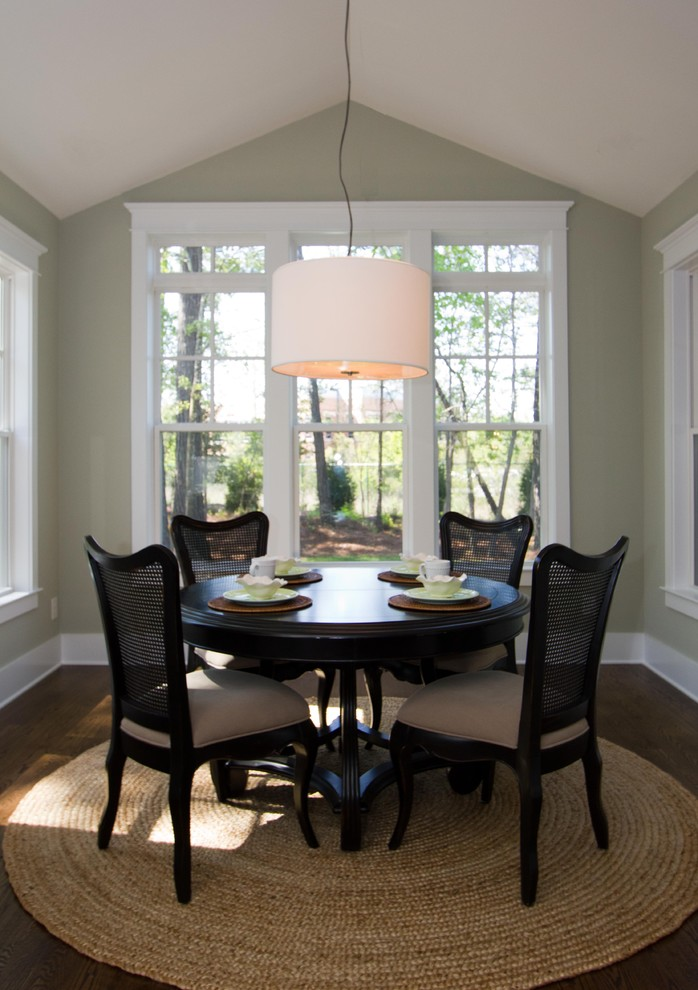 Round Pedestal Dining Table Dining Room Traditional with Breakfast Nook Cane Dining Chairs Dark Floor