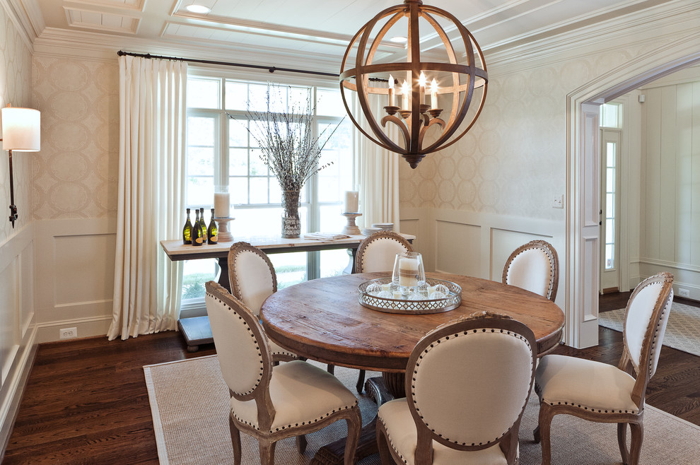 Round Pedestal Dining Table Dining Room Transitional with Area Rug Cage Chandelier Coffered Ceiling Console1