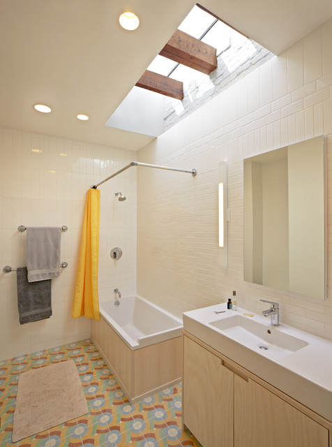 Round Shower Curtain Rod Bathroom Eclectic with Accent Tile Bathroom Lighting Ceiling Lighting Floor Tile Recessed