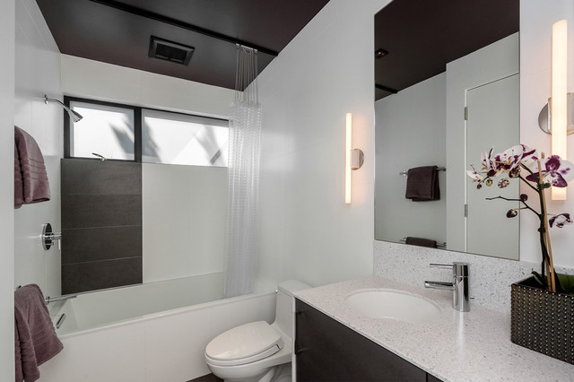 Round Shower Curtain Rod Bathroom Modern with Orchid Wall Mirror Wall Sconces White Wall Windows