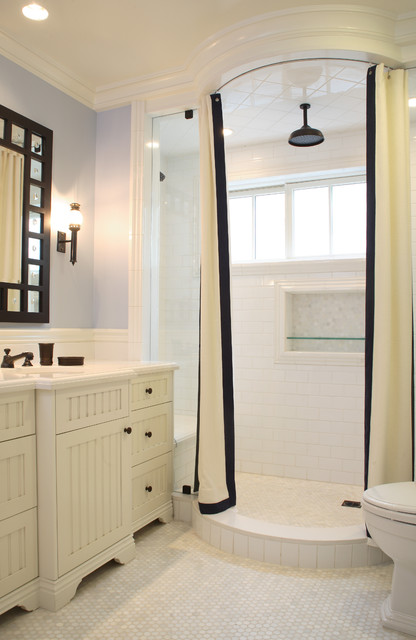 Round Shower Curtain Rod Bathroom Traditional with Bathroom Mirror Black and White Shower Curtain Inset Shower