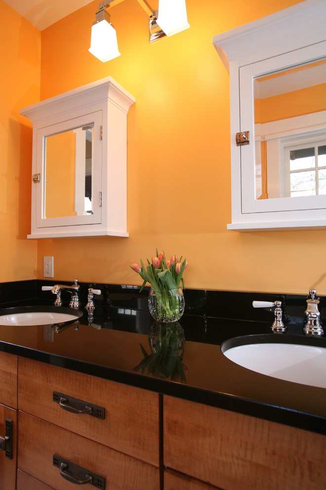 Rta Cabinet Store Bathroom Traditional with Black Counter Doubl Sink Drawer Pulls Flush