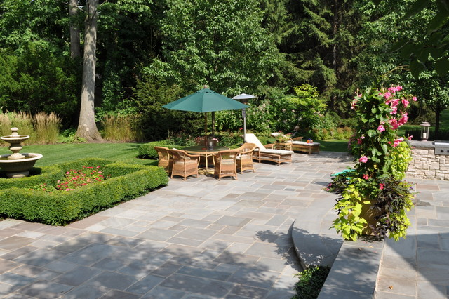 Rubber Patio Pavers Landscape Traditional with Bluestone Chaise Lounge Fountain Grass Hedge Lawn Outdoor Cushions