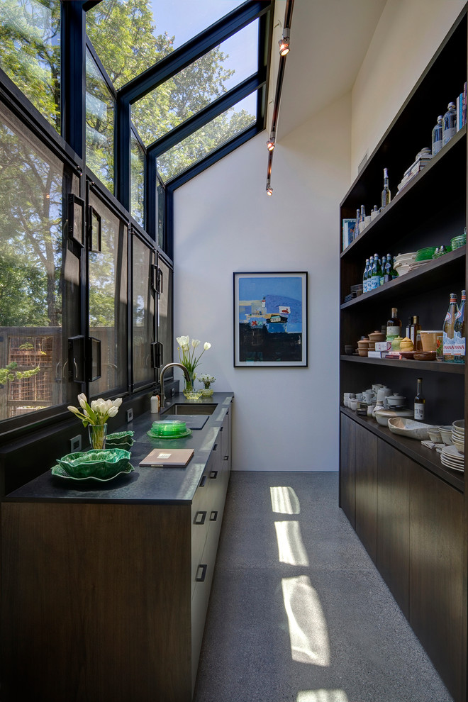 Rubbermaid Closet Design Kitchen Farmhouse with Glass Wall Painting Recessed Shelving Skylights Slanted