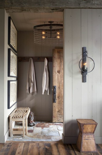 Ruff Hewn Entry Rustic with Industrial Elements Iron Accents Iron Table Stone Flooring Wood