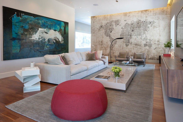 Rugs at Lowes Family Room Contemporary with Abstract Art Black Floor Lamp Commode Credenza Gray Pillows