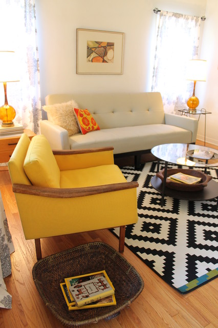 Rugs at Lowes Living Room Midcentury with Amber Glass Lamp Basket Black and White Curtains Glass