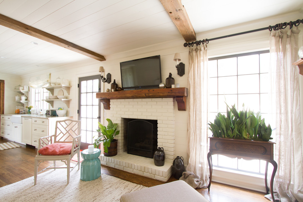 Rustic Fireplace Mantels Family Room Traditional with Beams Brick Fireplace French Window Kitchen Open
