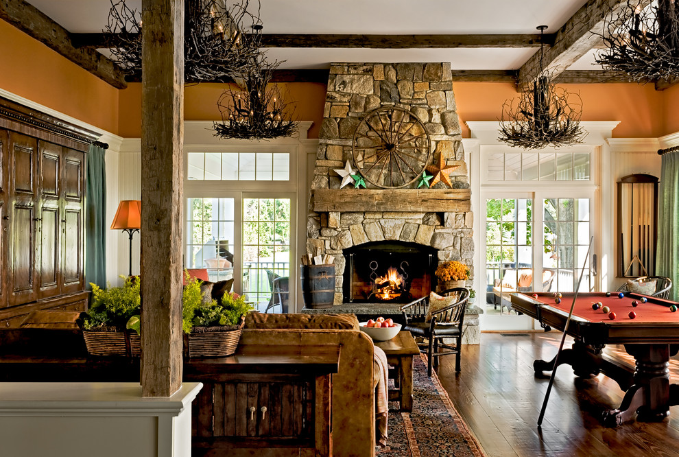 rustic mantels Family Room Traditional with aged beams chandelier coffered ceiling country dark