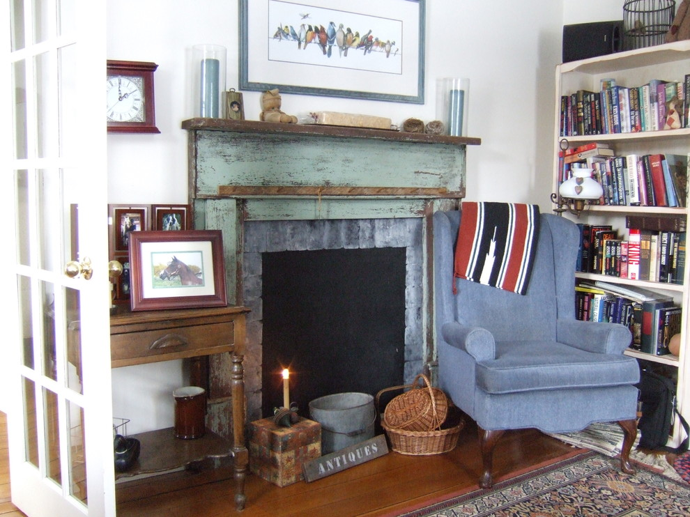 Rustic Mantels Living Room Shabby Chic with Antique Baskets Bucket Country Cozy Farmhouse Fireplace