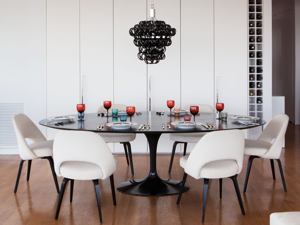 Saarinen Chair Dining Room Contemporary with Black Glass Chandelier Cabinets Carinilang Chair Chandelier