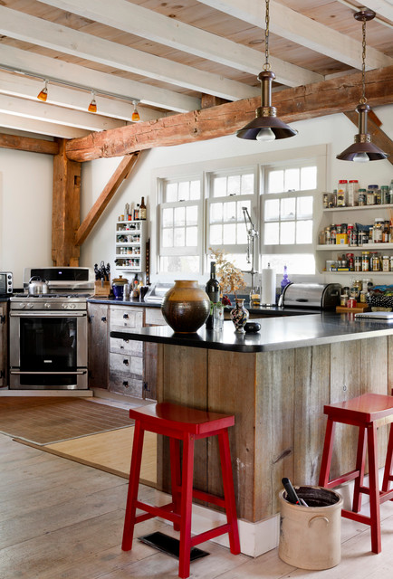 Saddle Stools Kitchen  Eclectic With Black Coutertop Corner Oven Corner Stove Exposed Beams Pendant