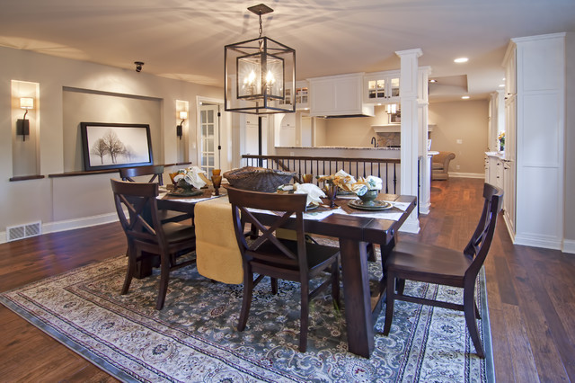 Saloom Furniture Dining Room Traditional with Alcove Area Rug Chandelier Dark Stained Wood Dining Table