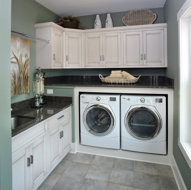 Samsung 4.5 Top Load Washer Laundry Room Traditional with Baseboards Built in Storage Front Load Washer Dryer Granite