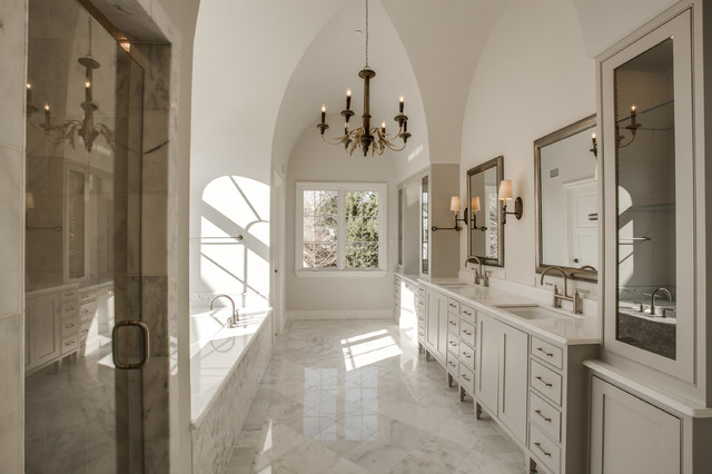 Santec Faucets Bathroom Traditional with Bright Master Bath Carrara Marble Counter Tops English French