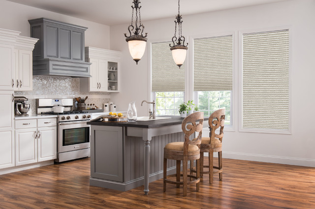 Santec Faucets Kitchen Transitional with Cellular Shades Curtains Drapery Drapes Kitchen Kitchen Cabinets Kitchen