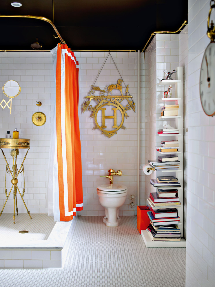 Sapien Bookcase Bathroom Eclectic with Black Ceiling Bookcase Free Standing Shower Shelf1
