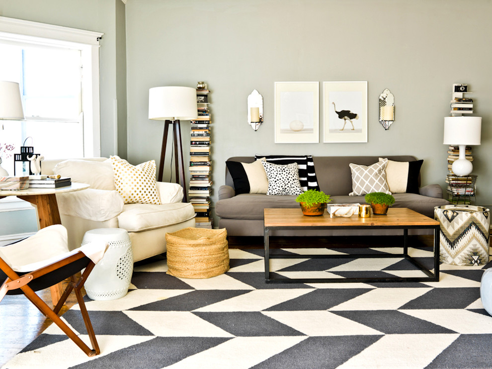 Sapien Bookcase Living Room Contemporary with Area Rug Black and White Rug Candles1