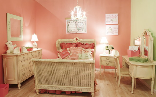 Sarasota Furniture Stores Kids Traditional with Bed Chandelier Cottage Desk Nightstand Pink Pink and Green