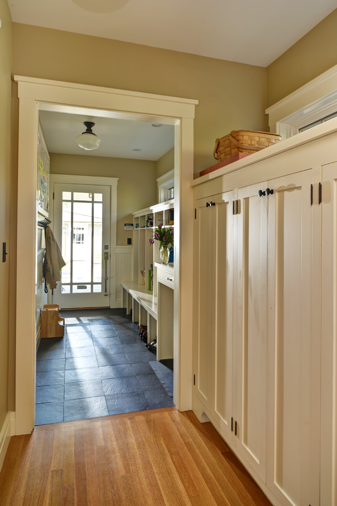 Schoolhouse Lights Entry Craftsman with Built Ins Entrance Entry Entry Bench Mud Room