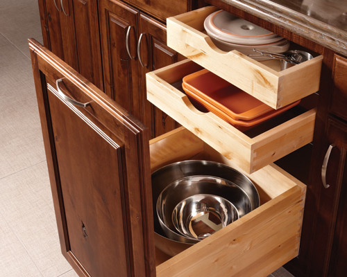 Schuler Cabinetry Kitchen Traditional with Cabinet Storage Organized Storage Solutions Triple Drawers