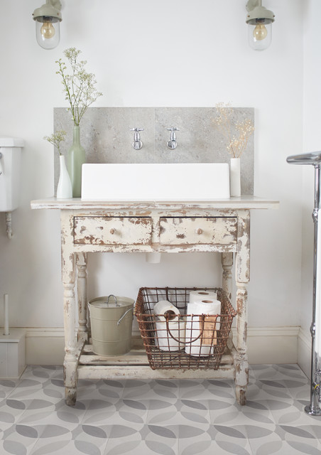Scottsdale Furniture Stores Bathroom Shabby Chic with Basket Bold Cement Tiles Granito Tiles Graphic Leaf Modern