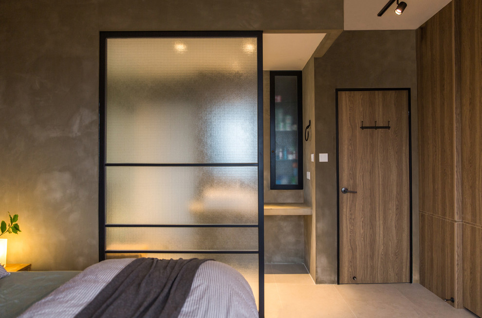 Screen Room Divider Bedroom Rustic with Ambience Bathroom Bed Black Brown Cement Chincs