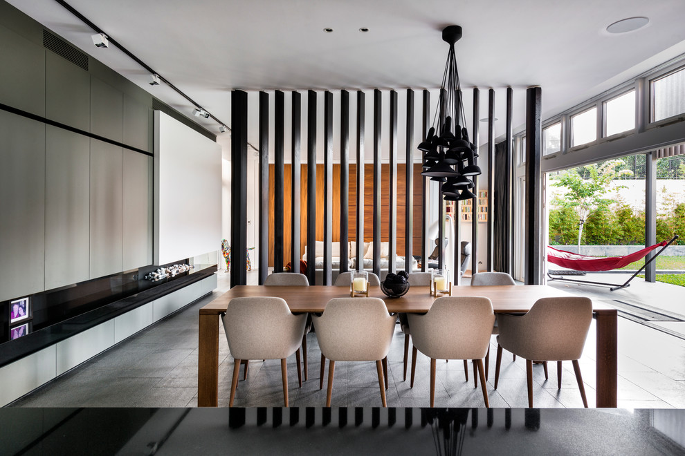 Screen Room Divider Dining Room Contemporary with Black Pendant Chandelier Contemporary Modern Fireplace Gray