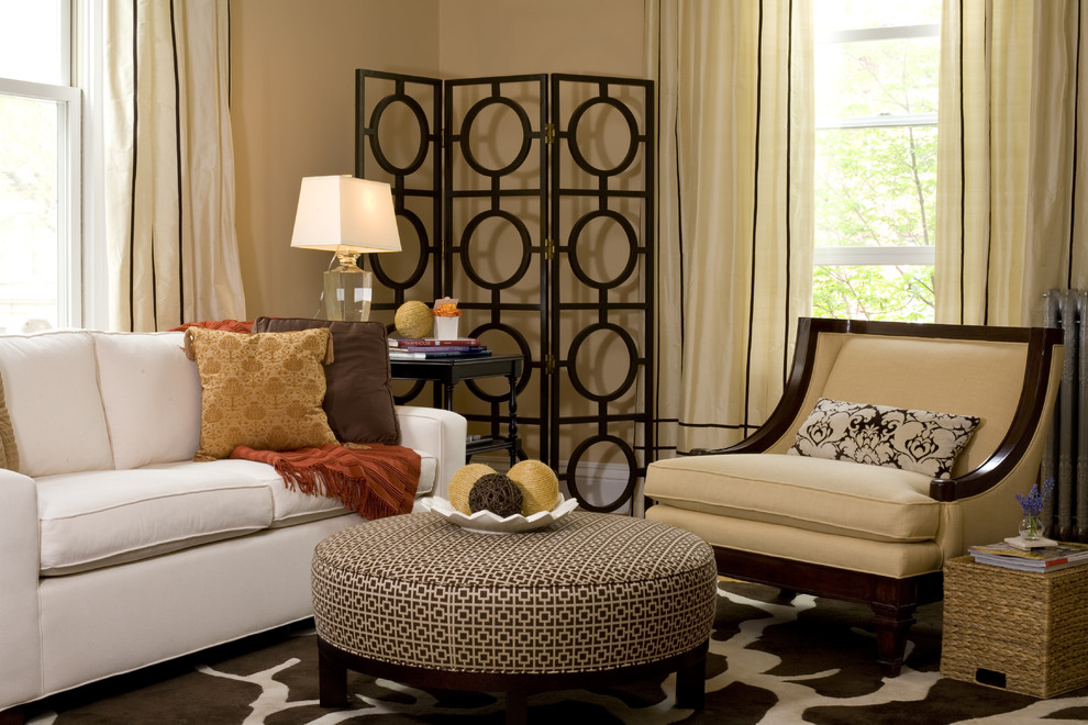 Screen Room Divider Living Room Contemporary with Area Rug Curtains Decorative Pillows Drapes Folding