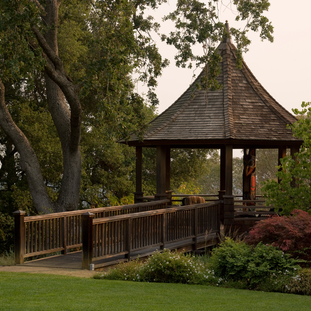 Screened Gazebo Landscape Traditional with Bushes Covered Patio Gazebo Grass Lawn Natural