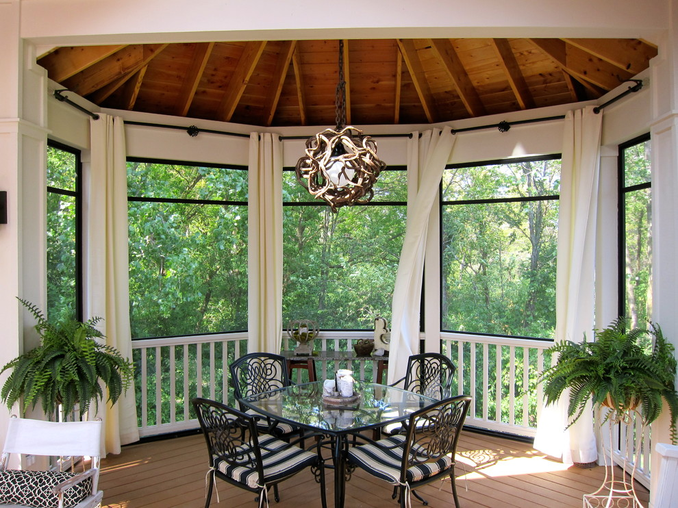 screened gazebo Porch Traditional with black black curtain rod black table bolster